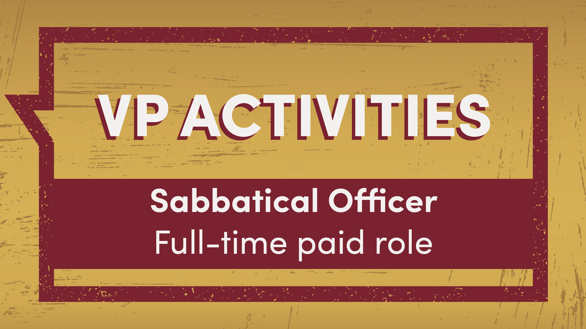 VP Activities Sabbatical Officer full-time paid role