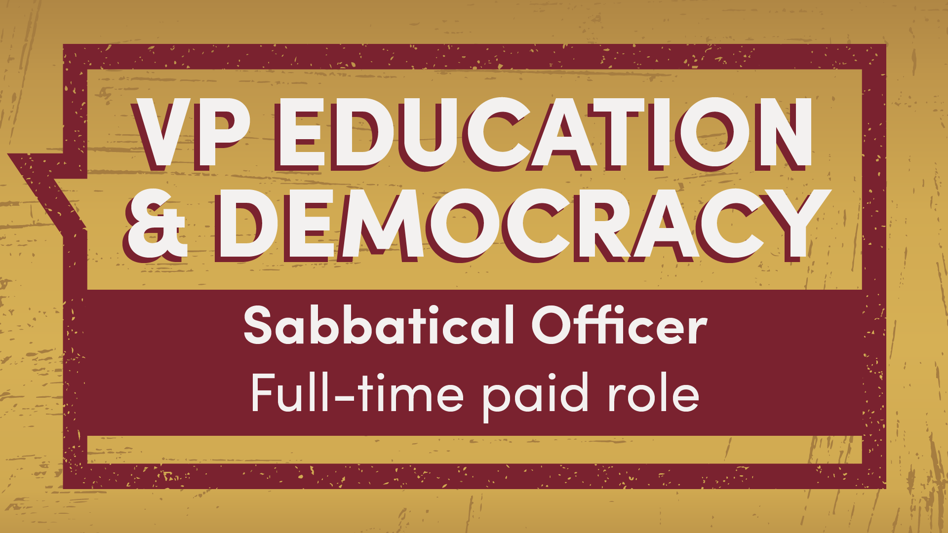 VP Education and Democracy Sabbatical Officer full-time paid role