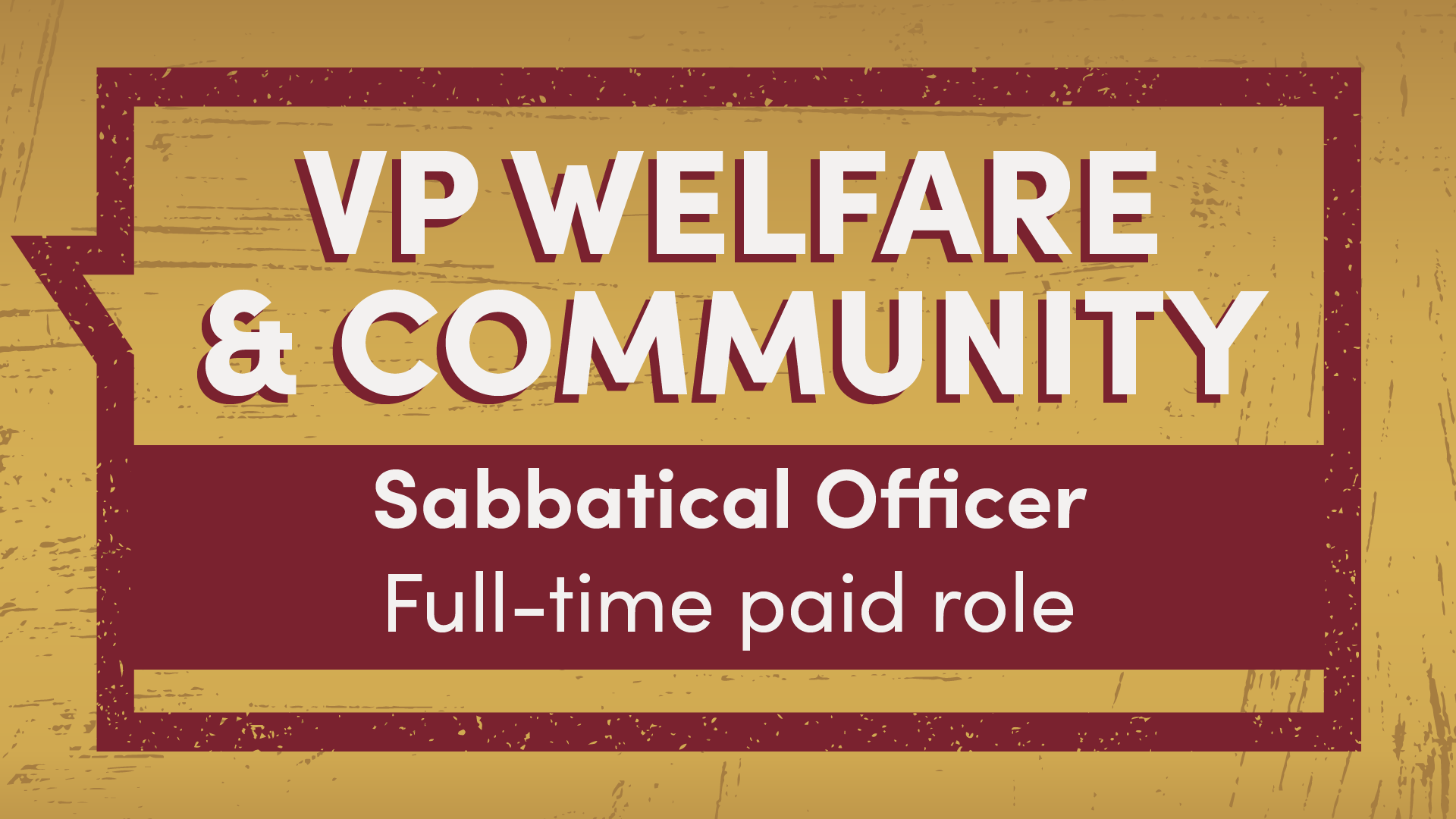VP Welfare and Community Sabbatical Officer full-time paid role