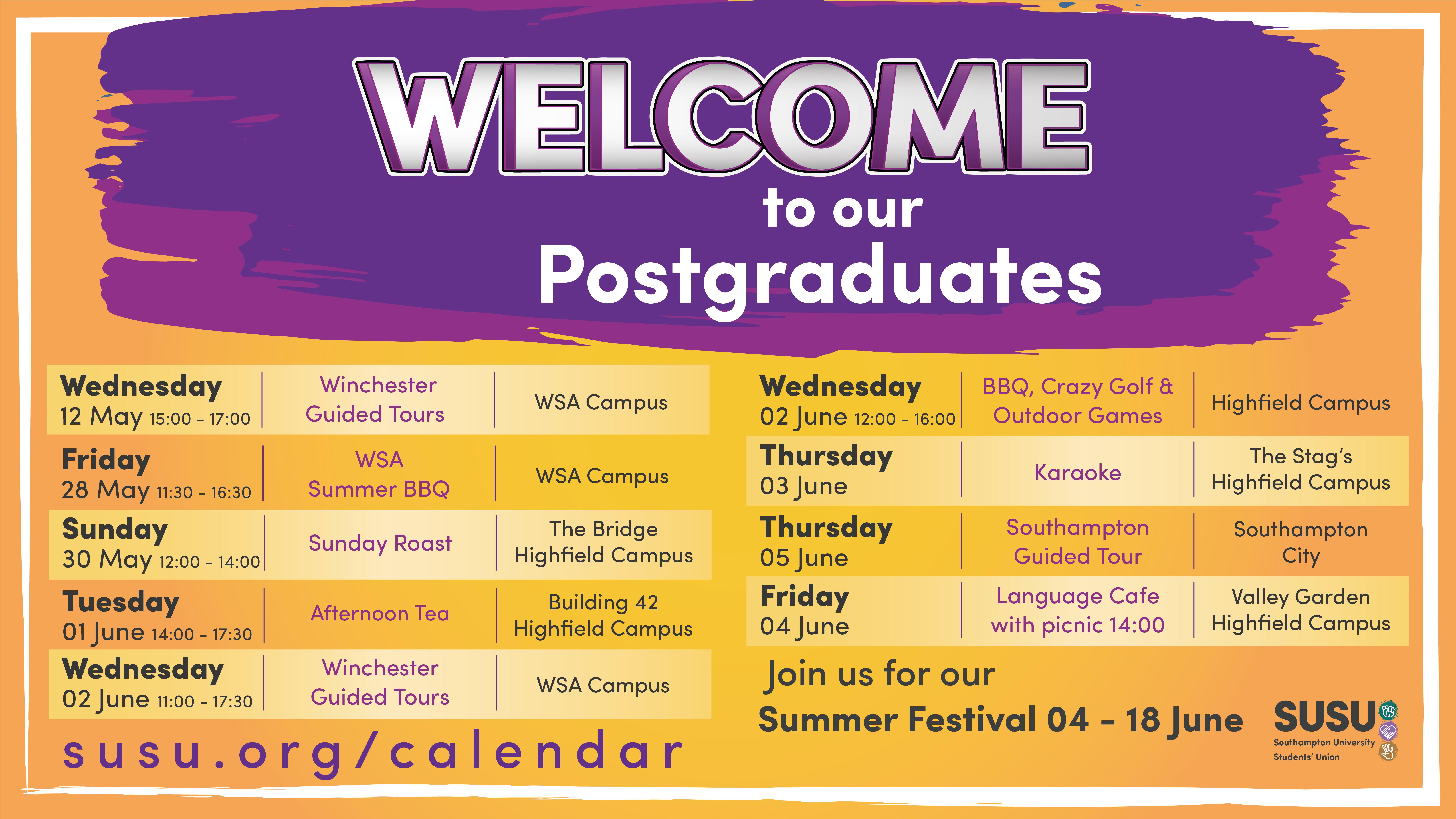 Postgraduate Welcome