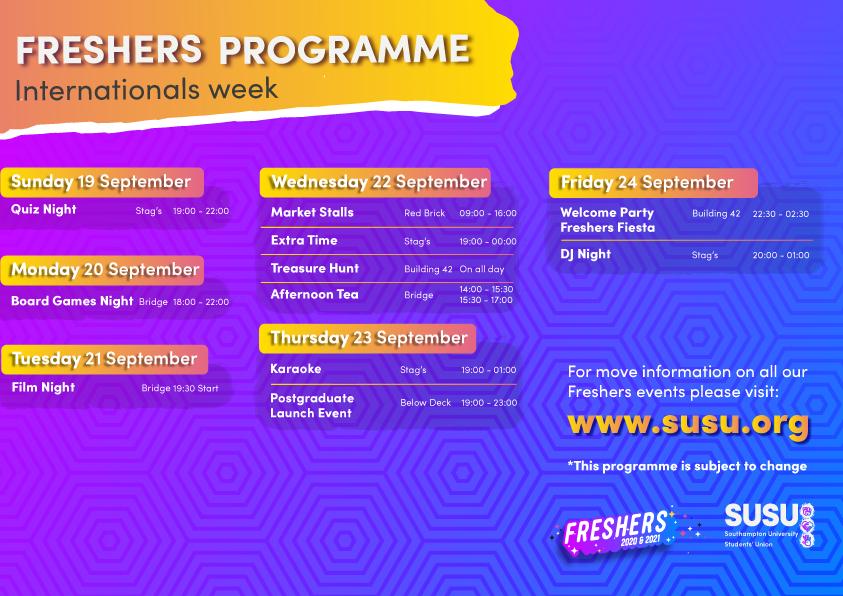 Week 1 Programme: Internationals Week