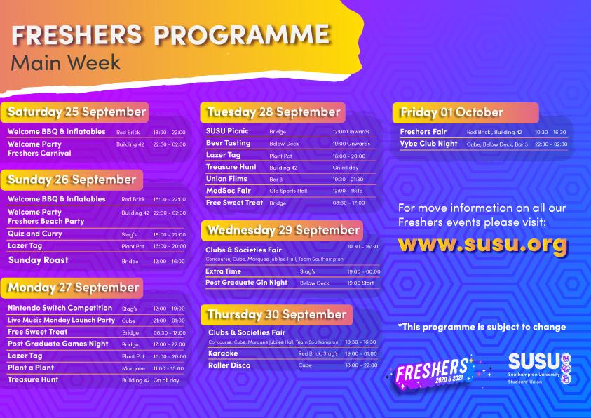 Week 2 Programme: Main Week