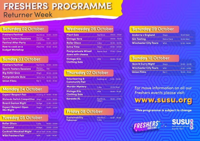Week 3 Programme: Returners Week
