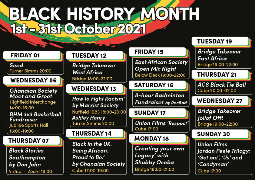 Black History Month Events at SUSU